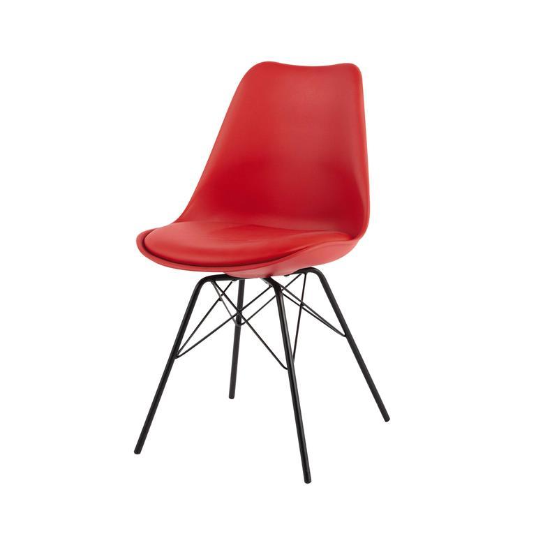 Chaise en polypropylène et métal rouge Coventry