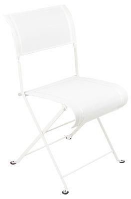 Chaise pliante dune toile fermob blanc en tissu - Chaise pliante toile ...