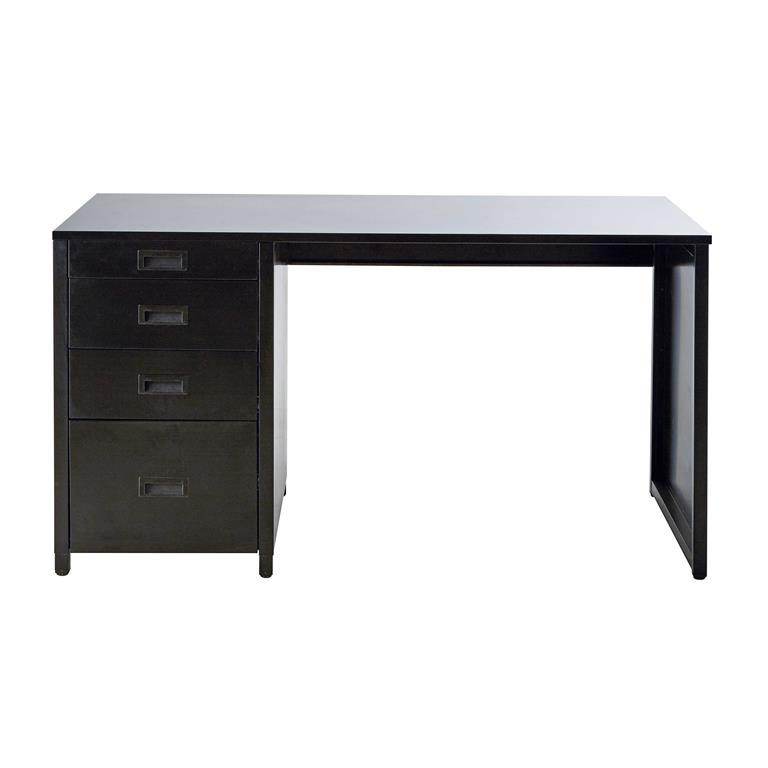 Bureau indus 4 tiroirs en métal noir Loft