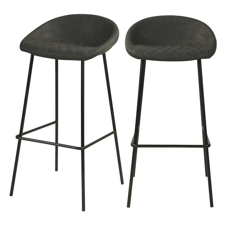 Chaise de bar 75cm en PU gris foncé