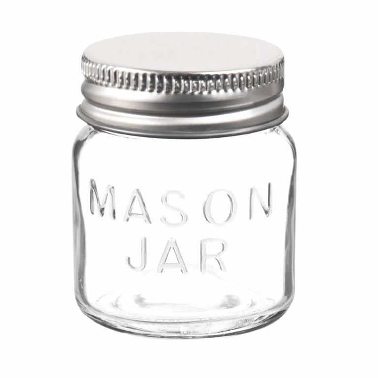 Mini bocal en verre couvercle argenté