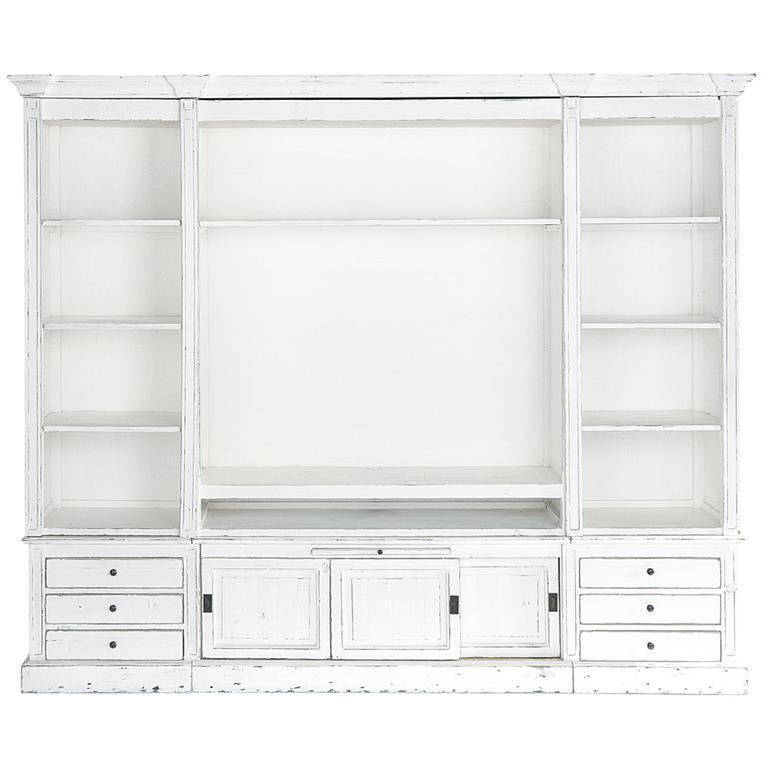 Bibliothèque meuble TV en pin massif recyclé ivoire Passy