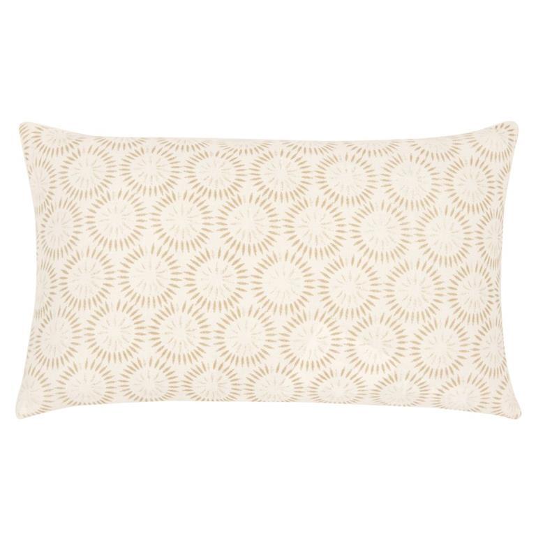 Housse de coussin en coton beige motifs graphiques blancs 30x50