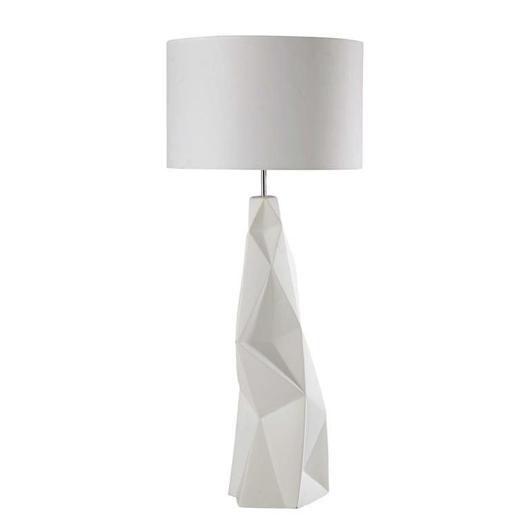 Lampadaire en céramique et tissu blanc H 119 cm NAPOLI