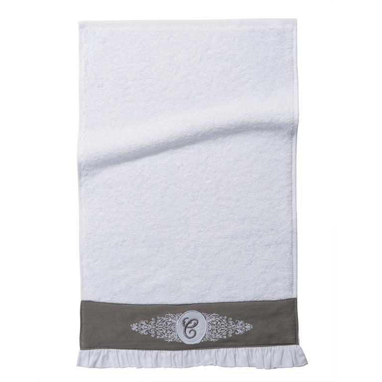Serviette de toilette en coton blanche 30 x 50 cm COLLECTION C