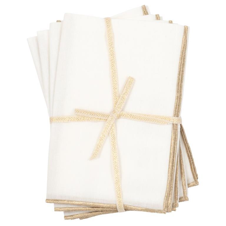 Serviettes blanches et doré mat