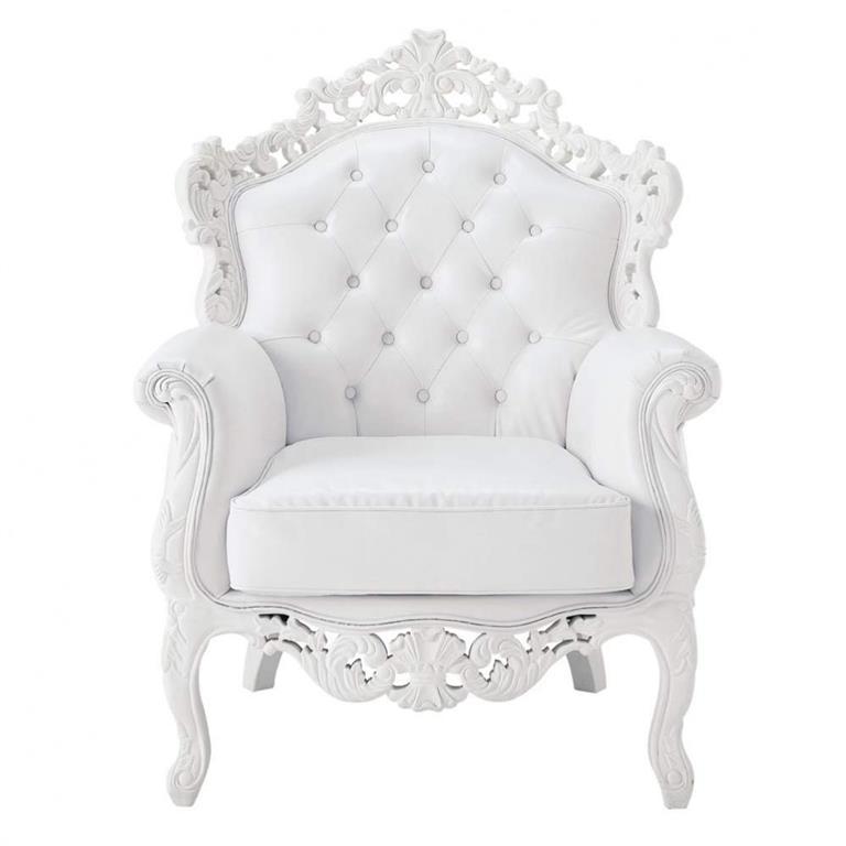 Fauteuil capitonné imitation cuir blanc Barocco