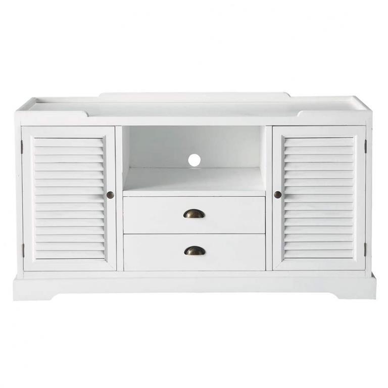 Meuble TV en bois blanc L 140 cm Barbade