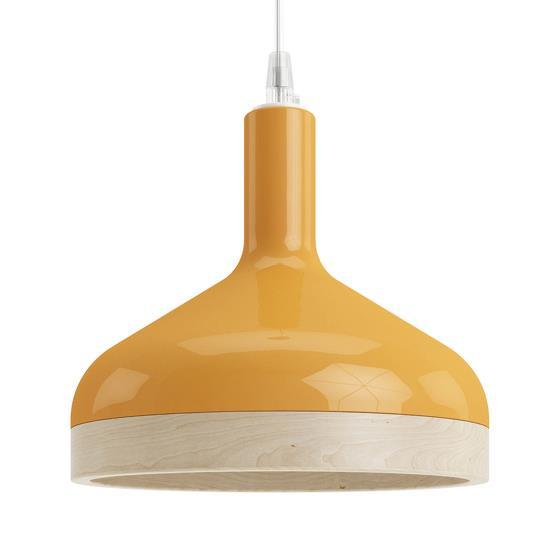 Suspension orange Plera en céramique et bois - Enrico Zanolla