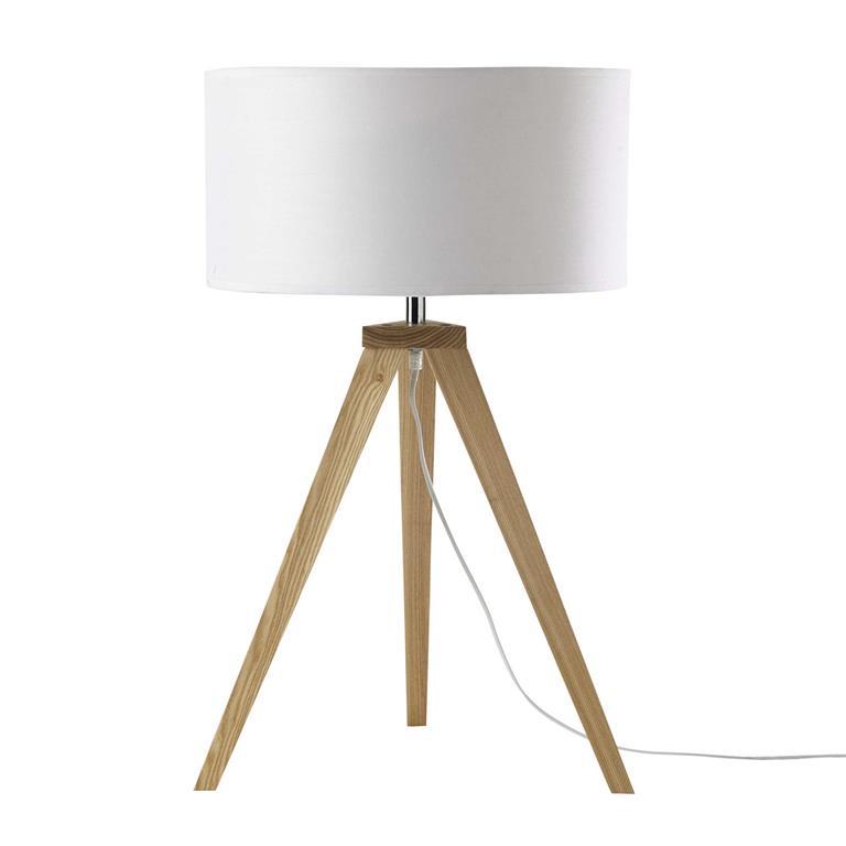 Lampe trépied en bois et abat-jour en coton écru H 67 cm KARLSEN