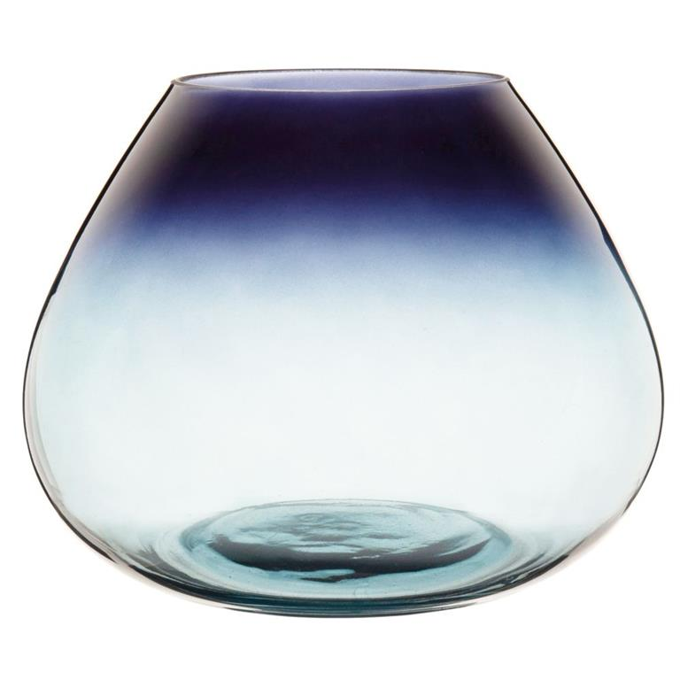 Vase en verre bleu dégradé H17