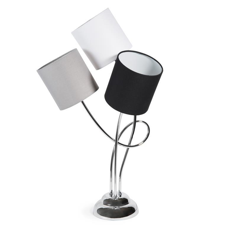 Lampe triple en métal et coton tricolore H 69 cm BLACKSTAGE