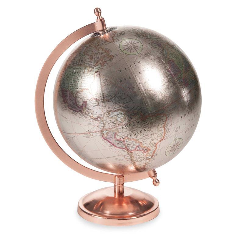 Globe terrestre carte du monde argenté et cuivré COPPER GLACE