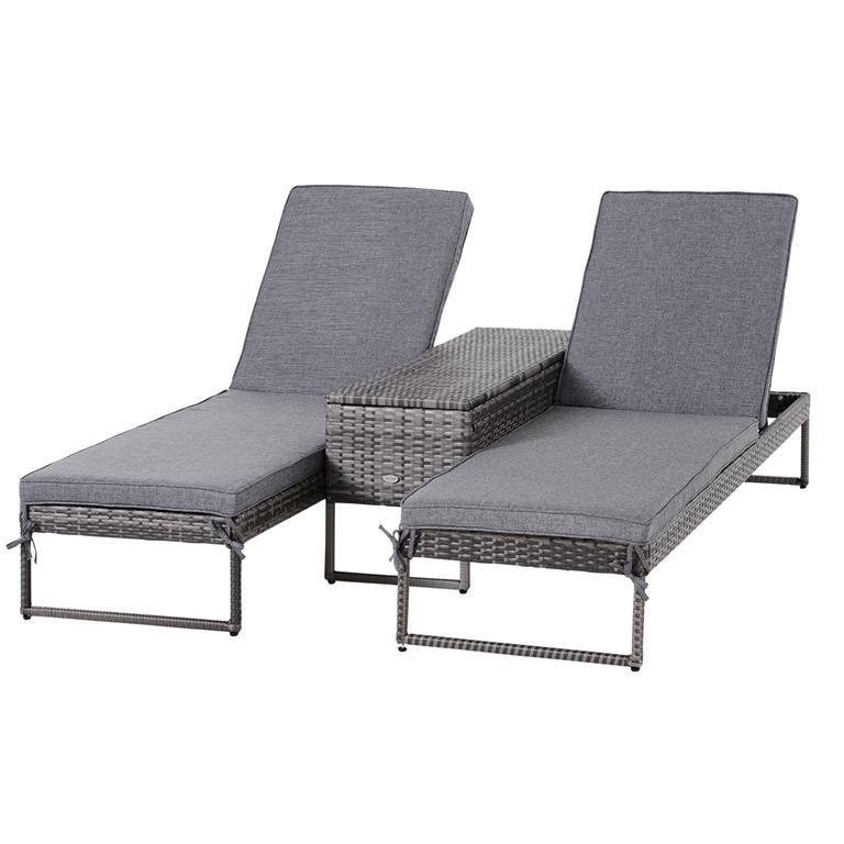 Lot de 2 bains de soleil design table basse avec matelas inclus