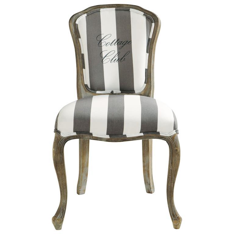 Chaise en coton gris et blanc Cottage Club