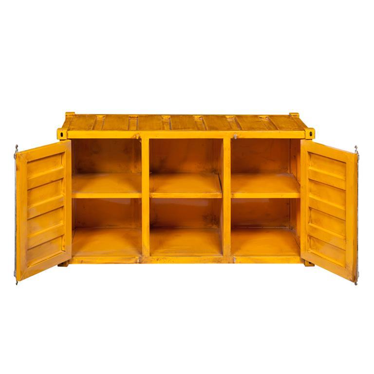Meuble TV container en métal jaune L 129 cm