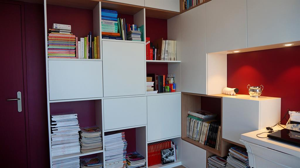 Bureau avec biblioth que sur mesure am esquisse photo n 35 for Bureau sur mesure