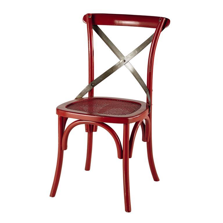 Chaise en rotin et métal rouge Tradition