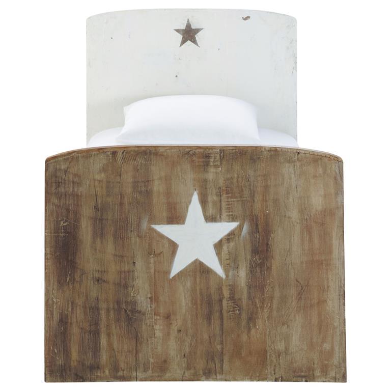 Lit enfant 90 x 190 cm en bois recyclé motif étoile Arcachon