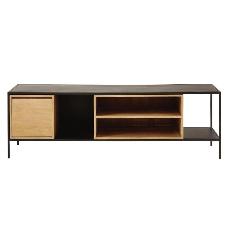 meuble tv 1 porte en mtal noir et manguier massif wayampi