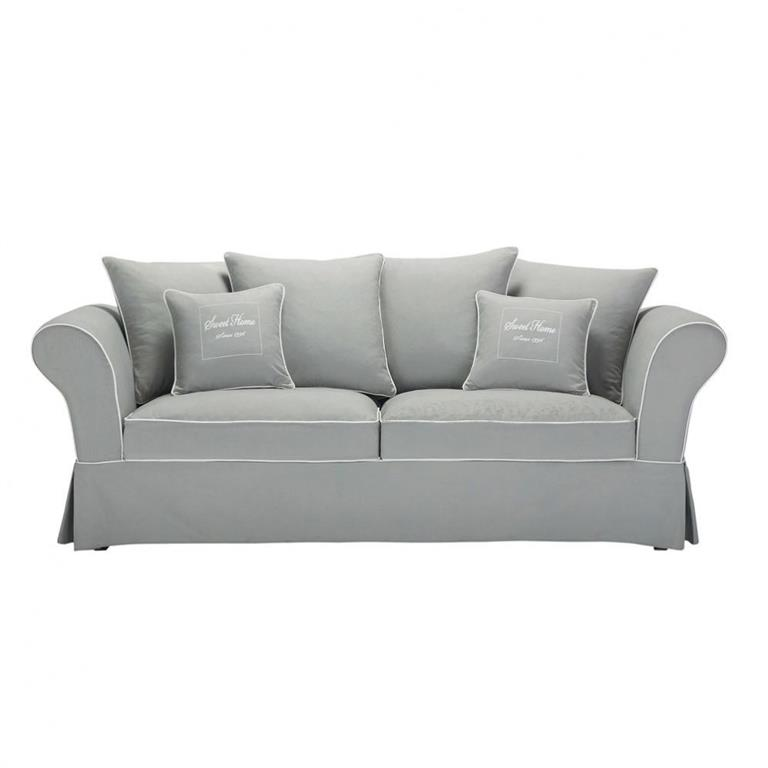 Canapé 3/4 places en coton gris Sweet home