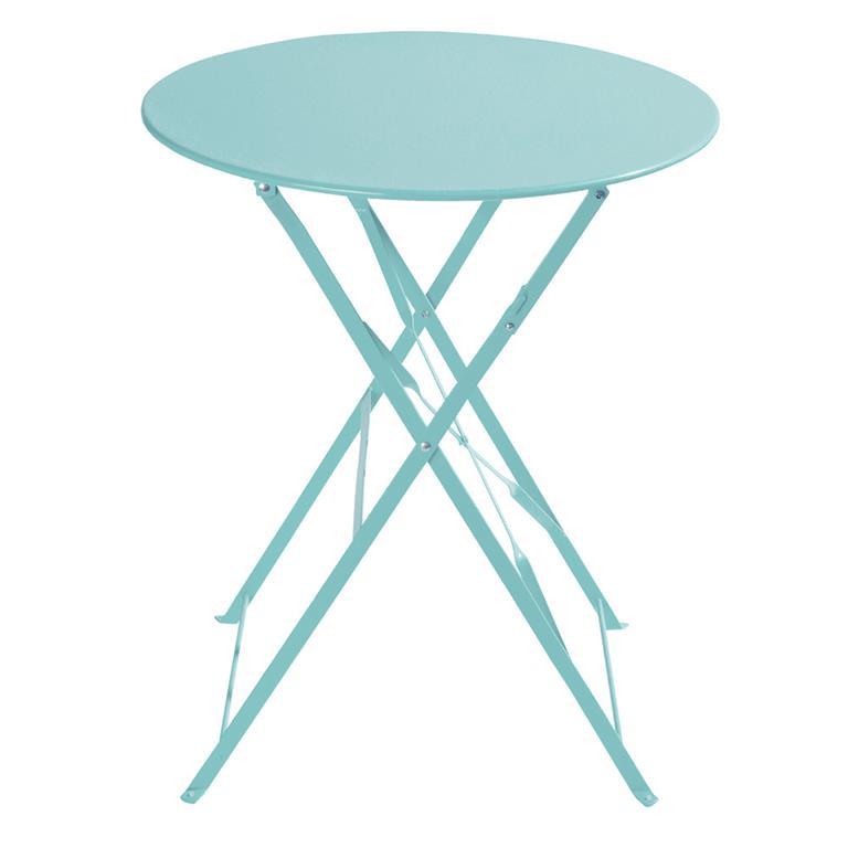 Table de jardin pliante en métal turquoise D58 Guinguette