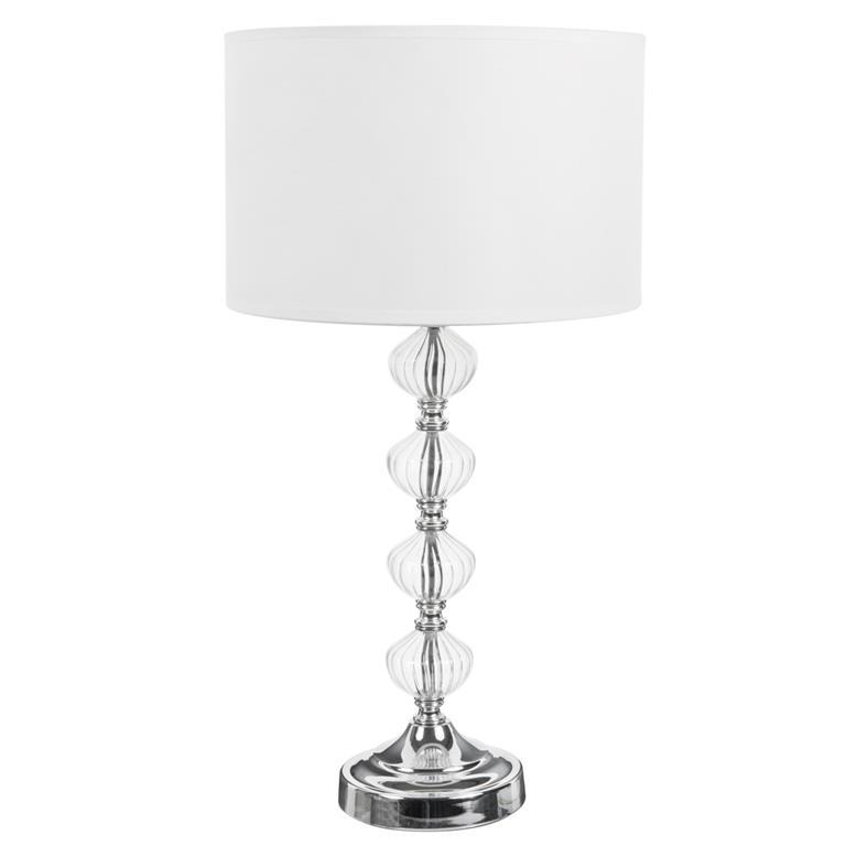 Lampe avec pied en verre et abat-jour en tissu blanc H 53 cm