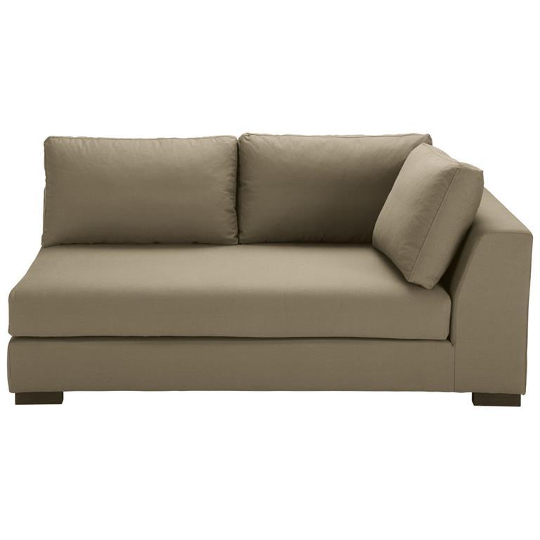 Angle droit de canapé-lit en coton taupe Terence