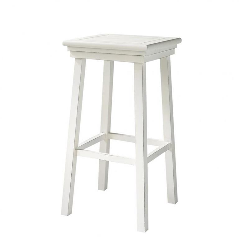 tabouret de bar en pin blanc newport maisons du monde. Black Bedroom Furniture Sets. Home Design Ideas