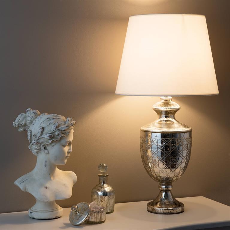Lampe en verre et abat-jour en coton blanc H 67 cm RENAISSANCE
