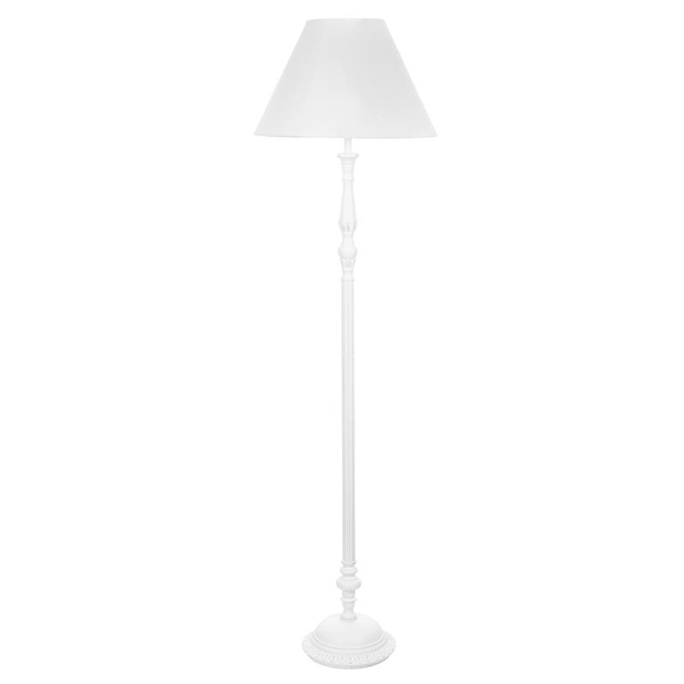 Lampadaire en bois et tissu blanc H 166 cm BOURGEOIS