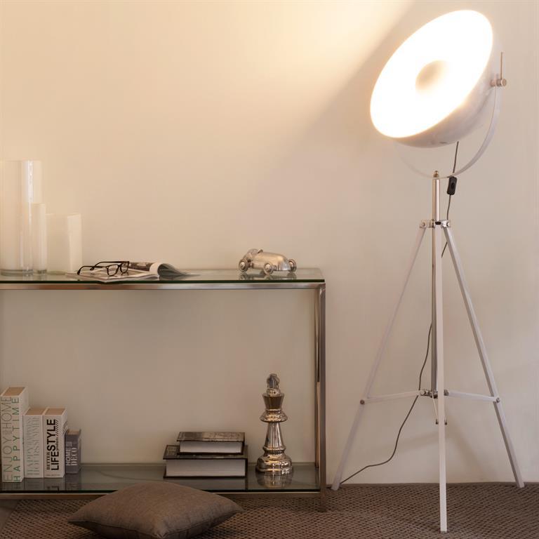 Lampadaire trépied en métal blanc H 170 cm PHOTOGRAPHE