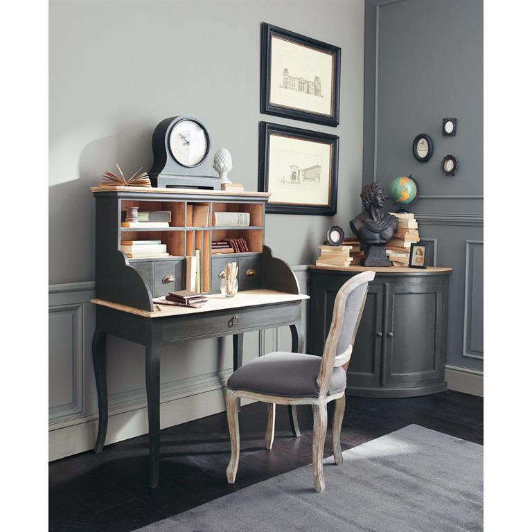 Chaise en lin taupe grisé Versailles
