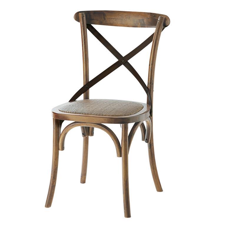 Chaise bistrot en rotin et chêne Tradition