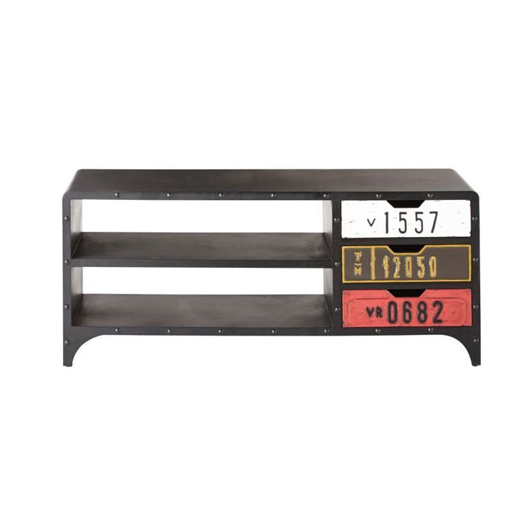 Meuble TV indus 3 tiroirs noir Road
