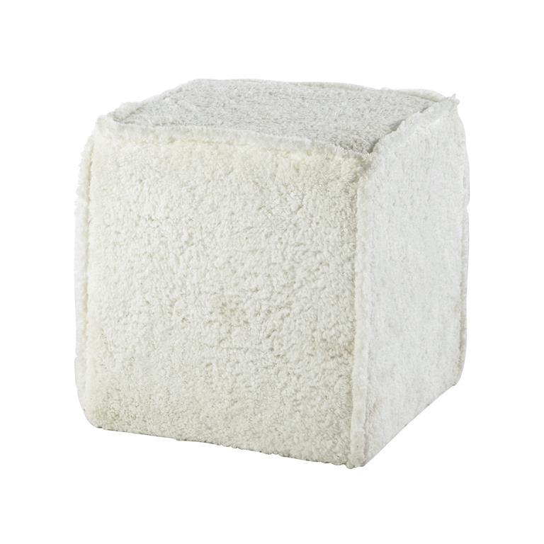 Pouf effet neige en fibres synthétiques blanc SOFIA