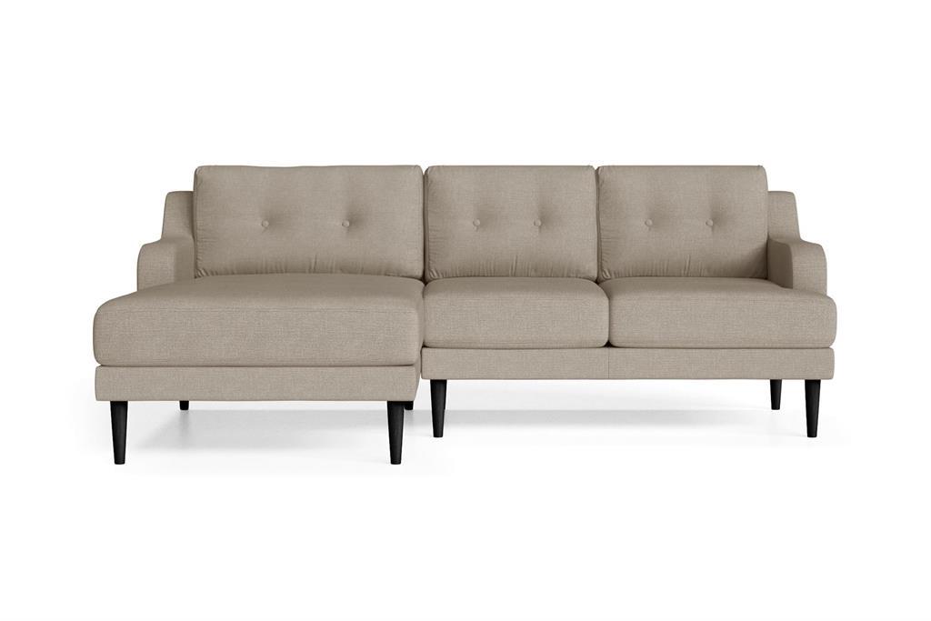 Canapé d'angle gauche 4 places toucher lin taupe