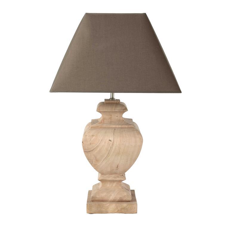 Lampe en manguier et abat-jour en coton taupe H 80 cm RICHELIEU
