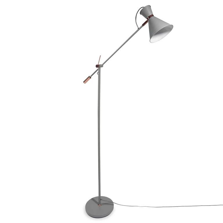 Lampadaire en métal gris H 145 cm GRETA