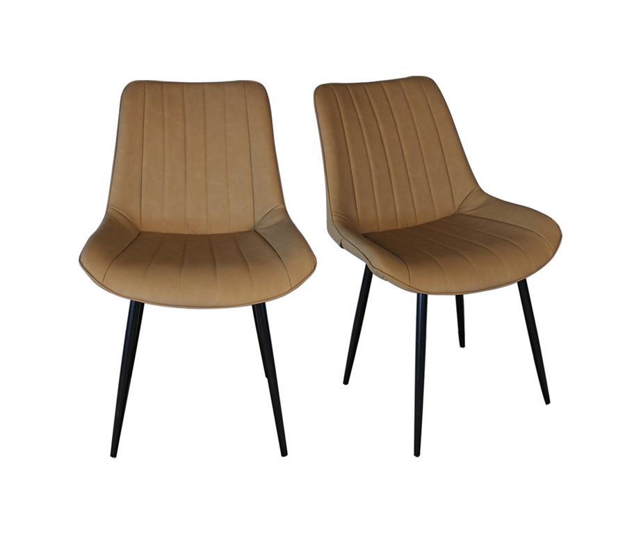 Lot de 2 chaises rembourrées style vintage Camel