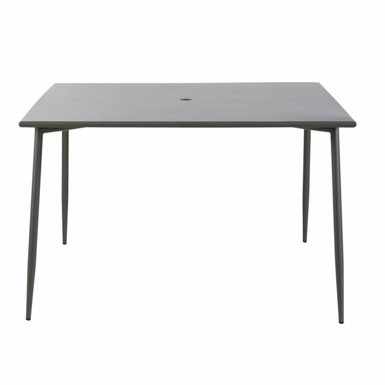Table de jardin en métal gris anthracite 8 personnes L120 Zinav