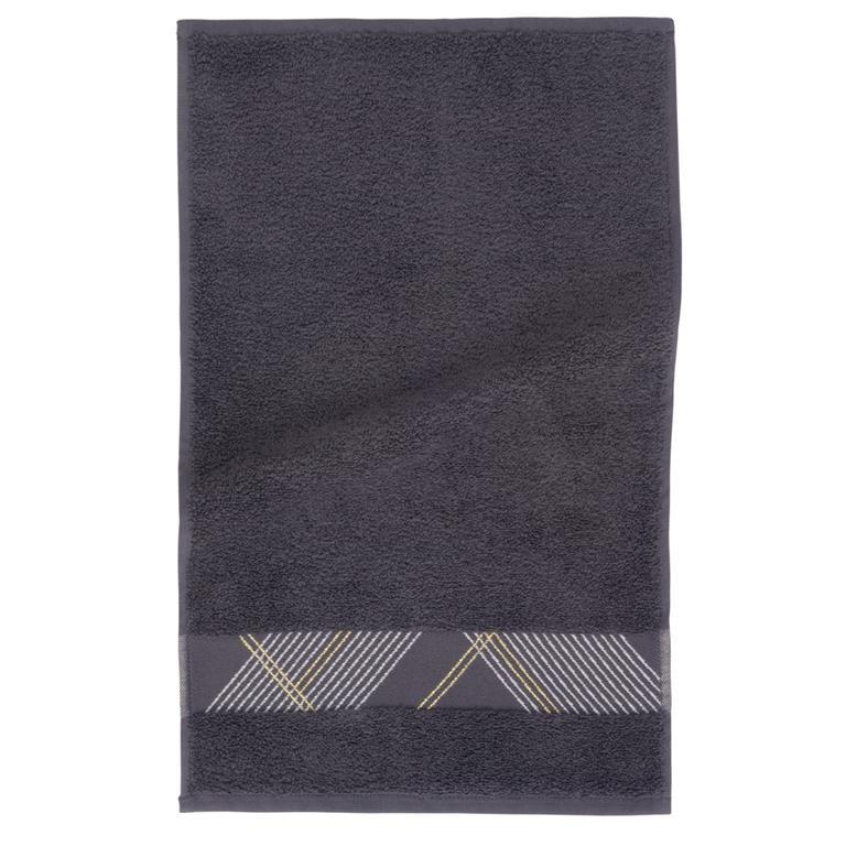 Serviette en coton gris motifs graphiques 30x50