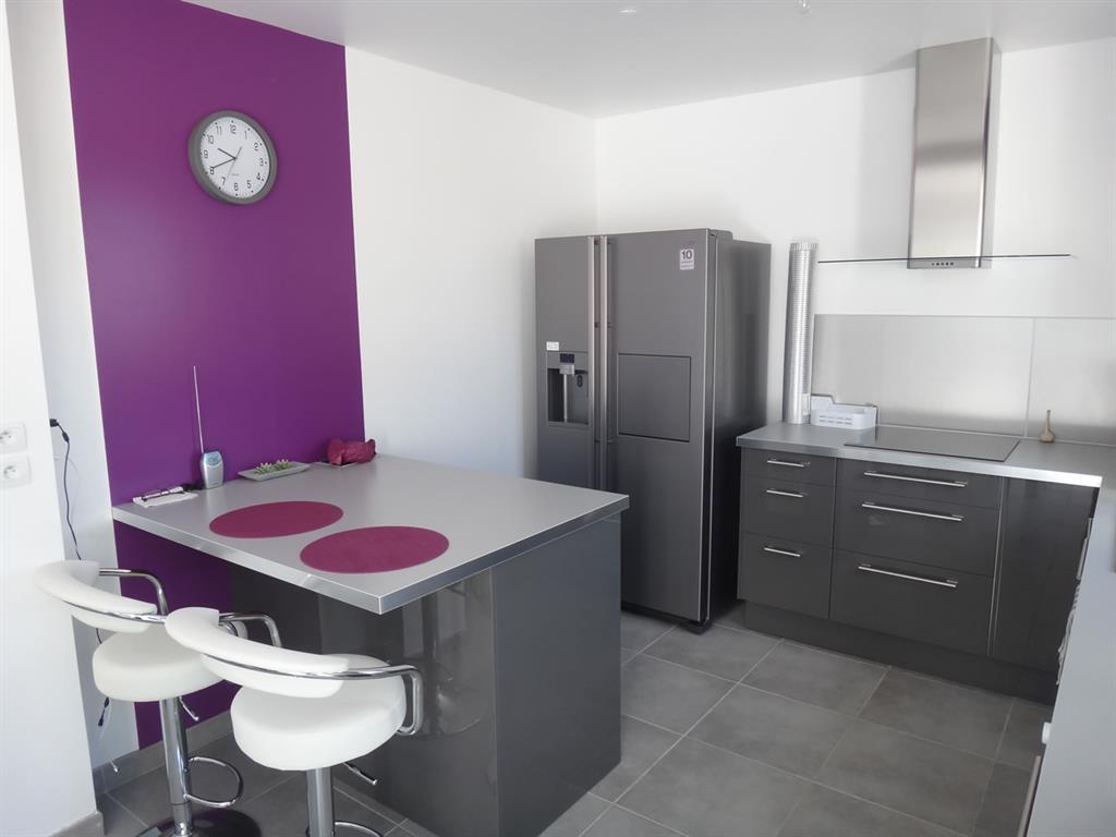 Petite cuisine violette et grise elisabeth hammard - Peinture cuisine violet ...