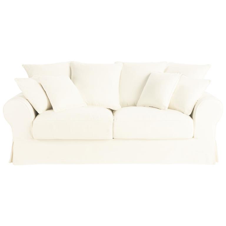 Canape lit 3 places en coton ivoire bastide maisons du monde for Canapé 3 places pour decoration du sejour