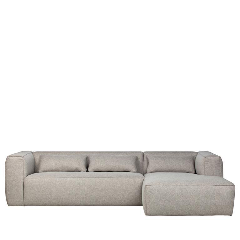 Canapé d'angle droit en tissu gris clair