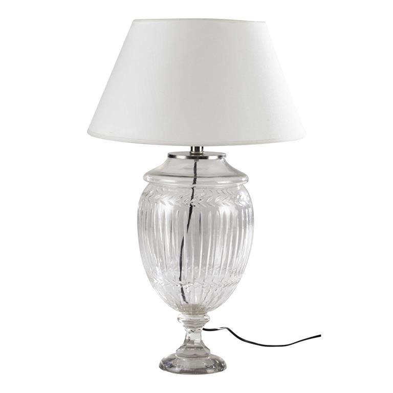 Lampe en verre et abat-jour en coton beige H 67 cm LAURINE