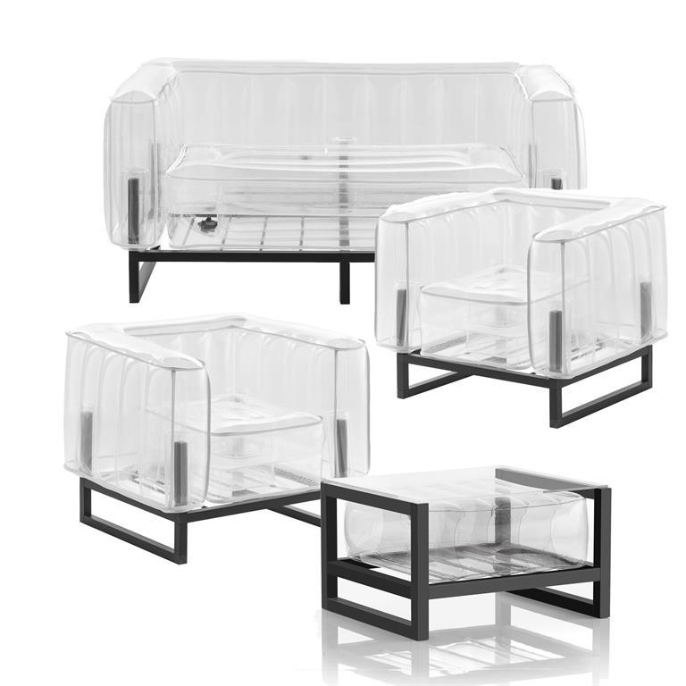 Salon de jardin design et table basse Passepoil blanc