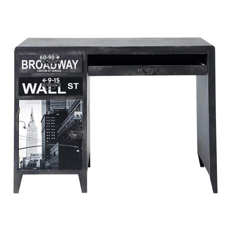 Bureau indus noir imprimé Wall Street