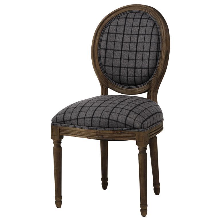 Chaise médaillon en tissu à carreaux et chêne grisé Louis