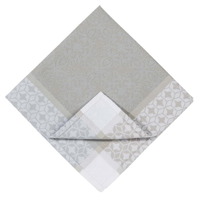 Serviette en tissu écru motifs jacquard 42x42